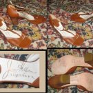 JOAN HELPERN SIGNATURE Burnt Sienna Open-Toed Pumps 8.5