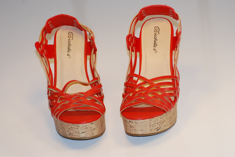 Women's Strappy Gladiators Wedge Shoes Orange Sz 6.5 10