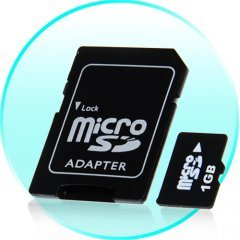 1GB MicroSD / TF Card with SD Card Slot Adapter - 10 pcs/lot