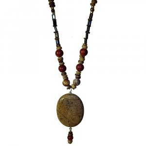 Gemstone and Glass Bead Necklace (Hand Made)