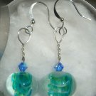 Green Glass Marble Earrings