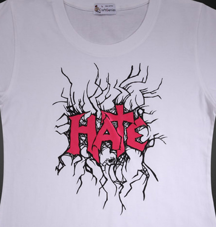 """Letter """"HATE"""" T-Shirt Design for Women - Original Pack   (Women's Medium)"""