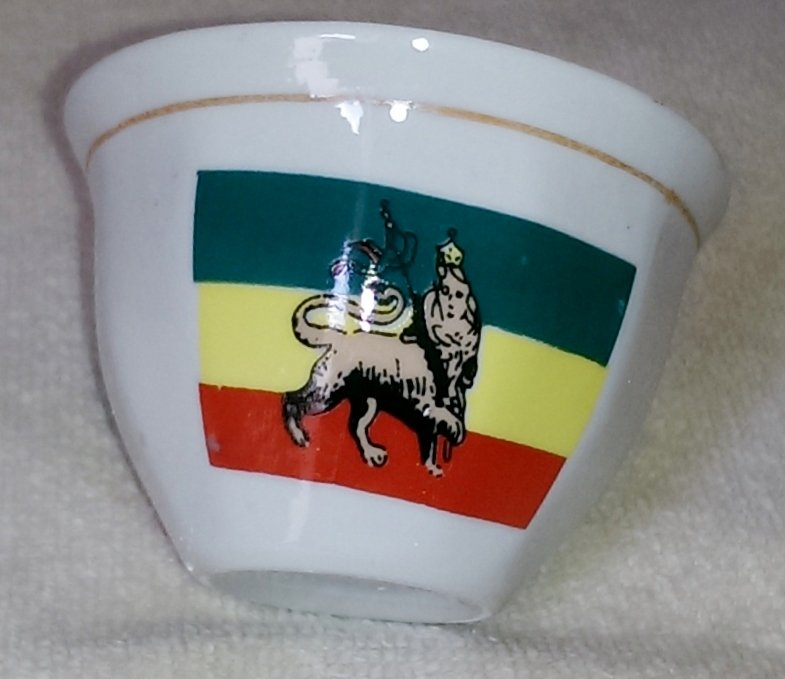 Ethiopian (Ereterian) coffee cups with Mo Anbessa flag on it.