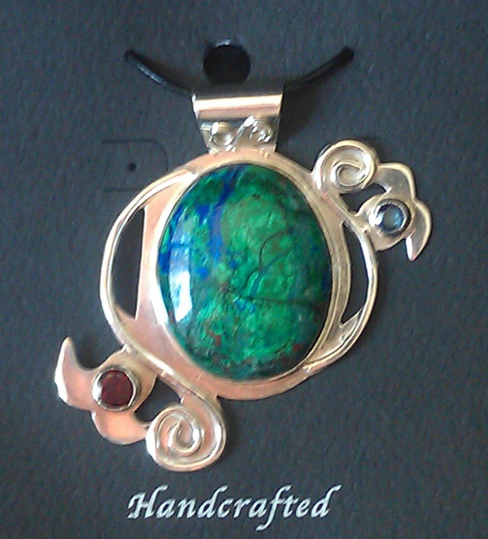 Sterling Silver Azurite & Malachite Cabochon w/ Garnet & Sapphire Pendant