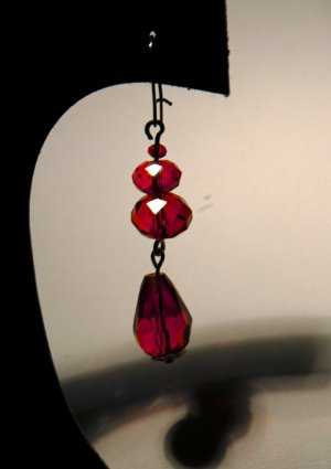 Red 2 Tier Drop Earrings