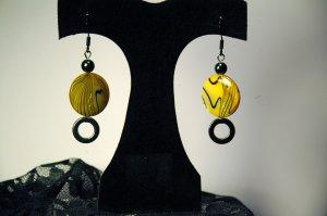 Yellow swirl earrings