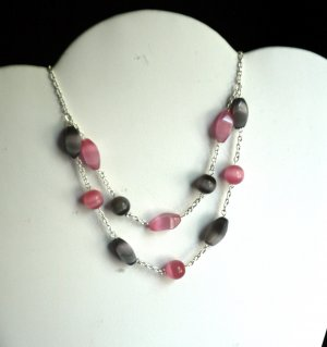 Pink & Black Two-Tier Cat's Eye necklace