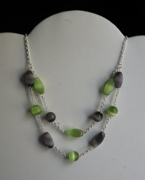 Green & Black Two-Tier Cat's Eye necklace