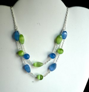 Green and Blue Two-Tier Cat's Eye necklace