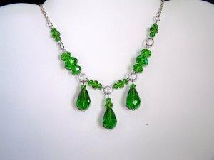 Green Triple Drop Necklace