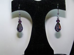 Purple Single Tier Drop Earrings