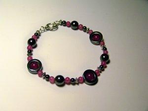 pink hematite circle bracelet
