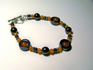 orange hematite circle bracelet