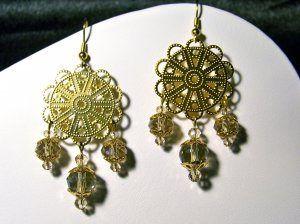 Gold Foil Triple Drop Earrings