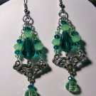 Green Triple Strand Triangle-fleurette Earrings