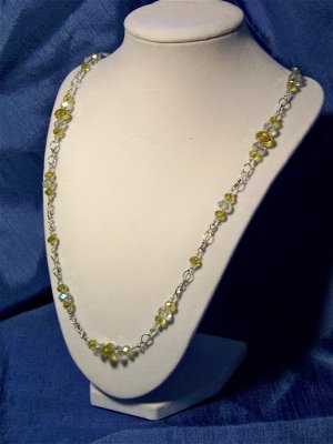 Yellow and Clear crystal necklace