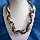 Braided Stone Chip Necklace - Purple