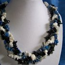 Braided Stone Chip Necklace - Blue