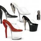 "Pleaser"" - 7 1/2"" Sculpted Legs In Stockings Heel Open Toe Platform Slide - each pair"