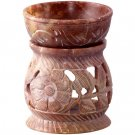 OIL BURNER - SOAPSTONE CARVED FLOWERS 3.5in.