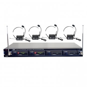 Pyle PDWM4400 Rack Mount 4 Mic VHF Rack Mount Wireless Lavalie/ Headset System