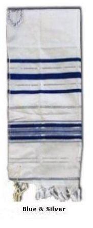 Prayer Shawls (Tallit) blue with Silver Trims