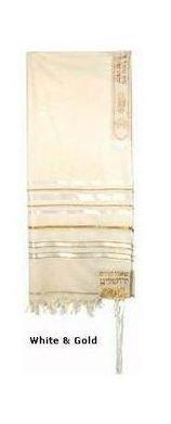 Prayer Shawl (Tallit) White & Gold trims