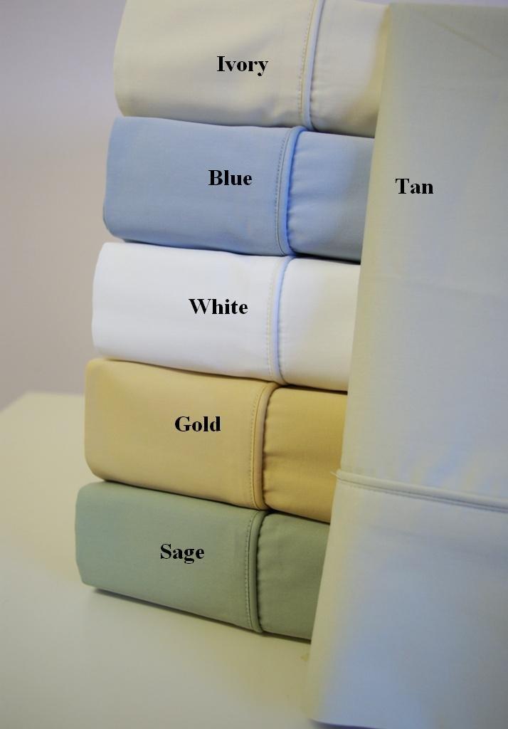 California King Bamboo Cotton Sheets Light-Blue