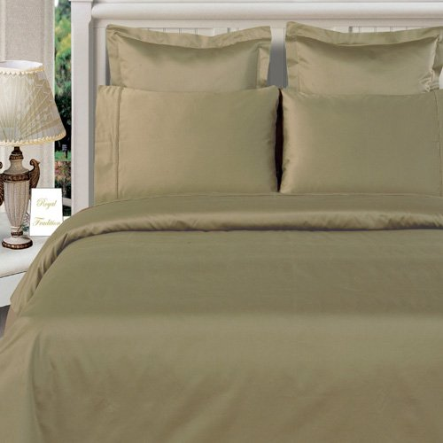 Queen Size Sage-Green Duvet Cover Set Bamboo Organic Cotton