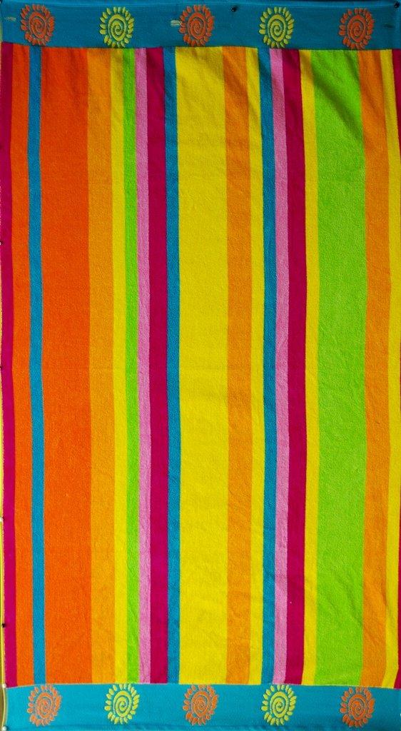 """Egyptian Cotton Beach Towel """"Pastel Stripe"""" (40x70 inches)"""