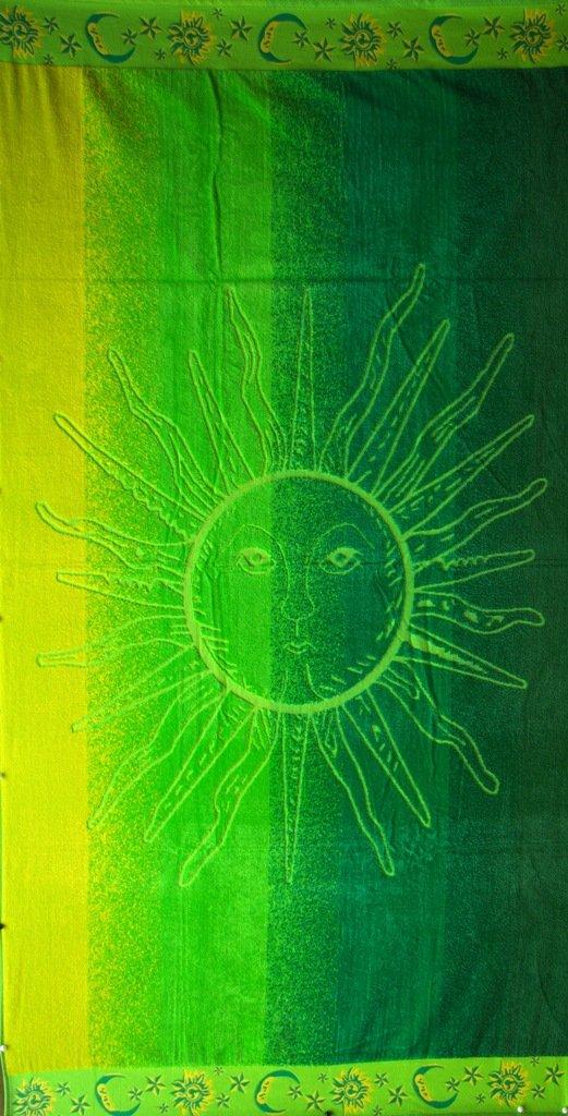 "Egyptian Cotton Beach Towel ""Green Sun"" (40x70 inches)"