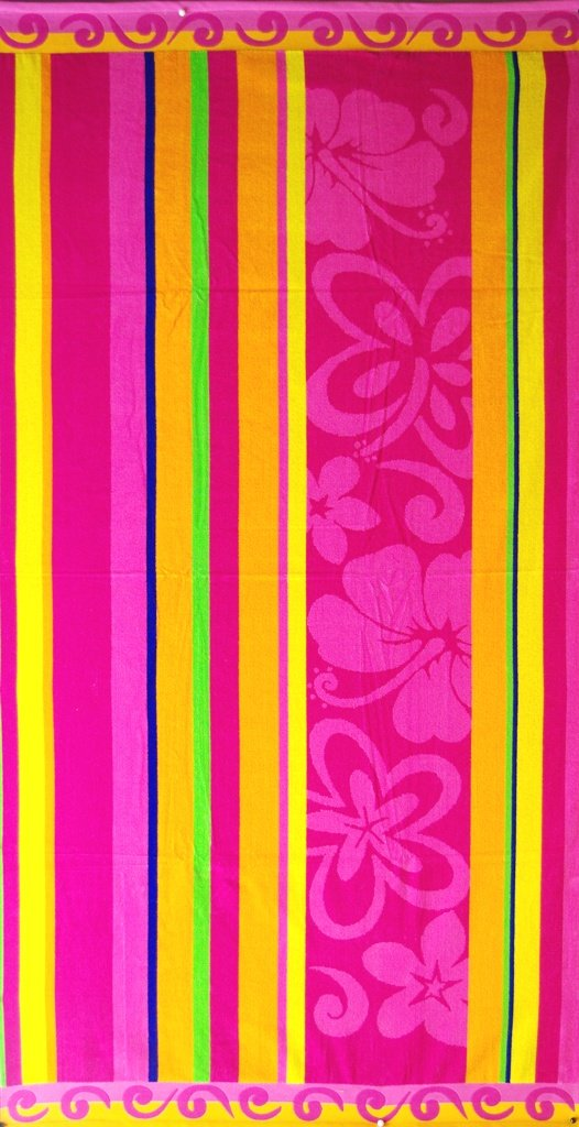 """Egyptian Cotton Beach Towel """"Floral Stripe"""" (40x70 inches)"""