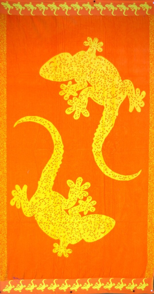 """Egyptian Cotton Beach Towel """"Two Lizards"""" (40x70 inches)"""