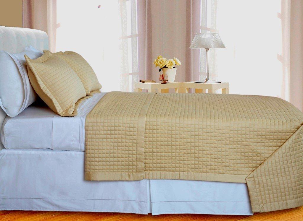 Reversible Coverlet Set 3PC Egyptian cotton 400-TC Gold Checkered