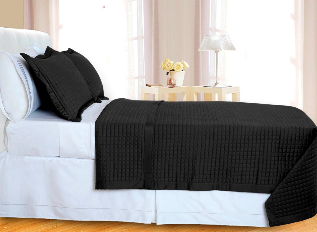 Black Checkered Coverlet Set 3PC Egyptian cotton 400 Thread count Reversible
