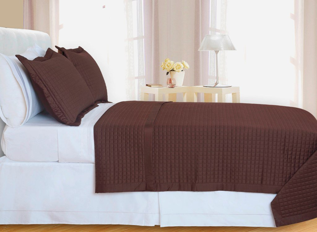 Chocolate Brown Checkered Coverlet Set Egyptian cotton 400 Thread count Reversible