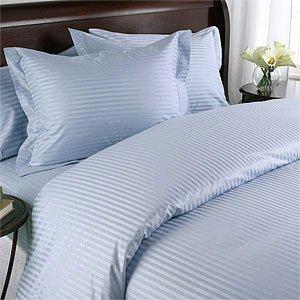 Lt. Blue Damask Stripe, Down Alternative 4-PC Comforter Set, 100% Egyptian cotton, 600 Thread count