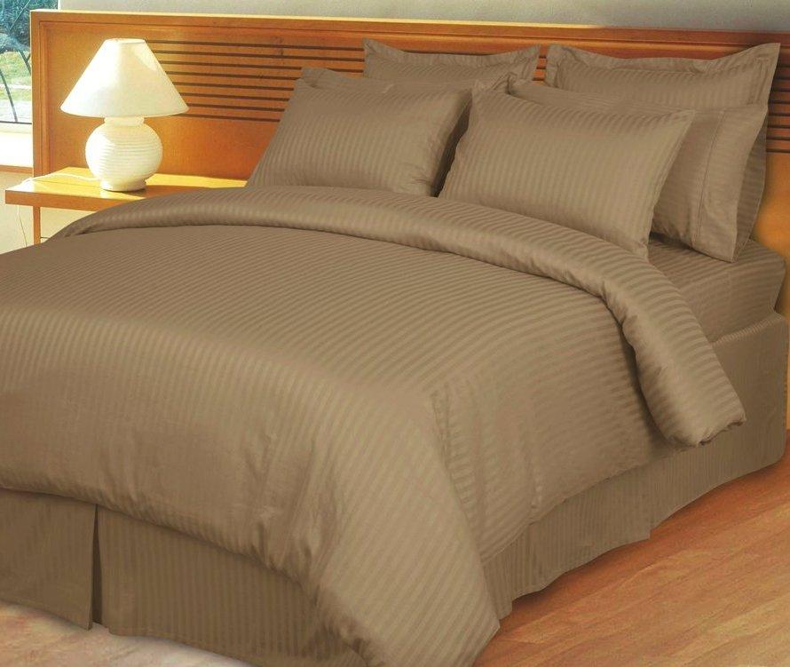 Taupe Damask Stripe Down Alternative 4-pc comforter Set, 100% Egyptian cotton , 600 Thread count