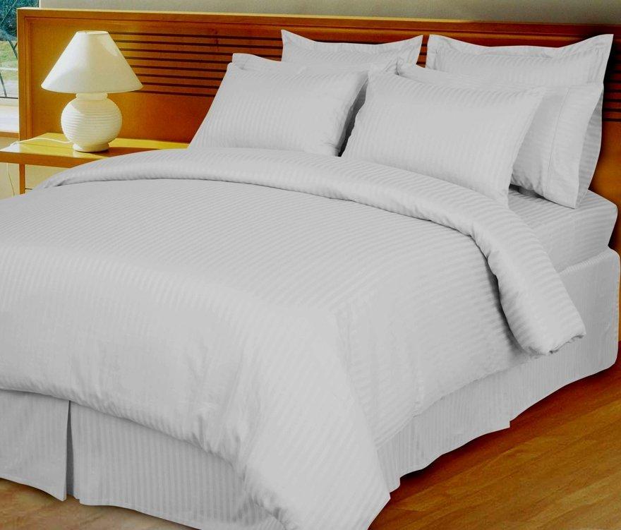 White Damask Stripe Down Alternative 4-pc Comforter Set, 100% Egyptian cotton , 600 Thread count