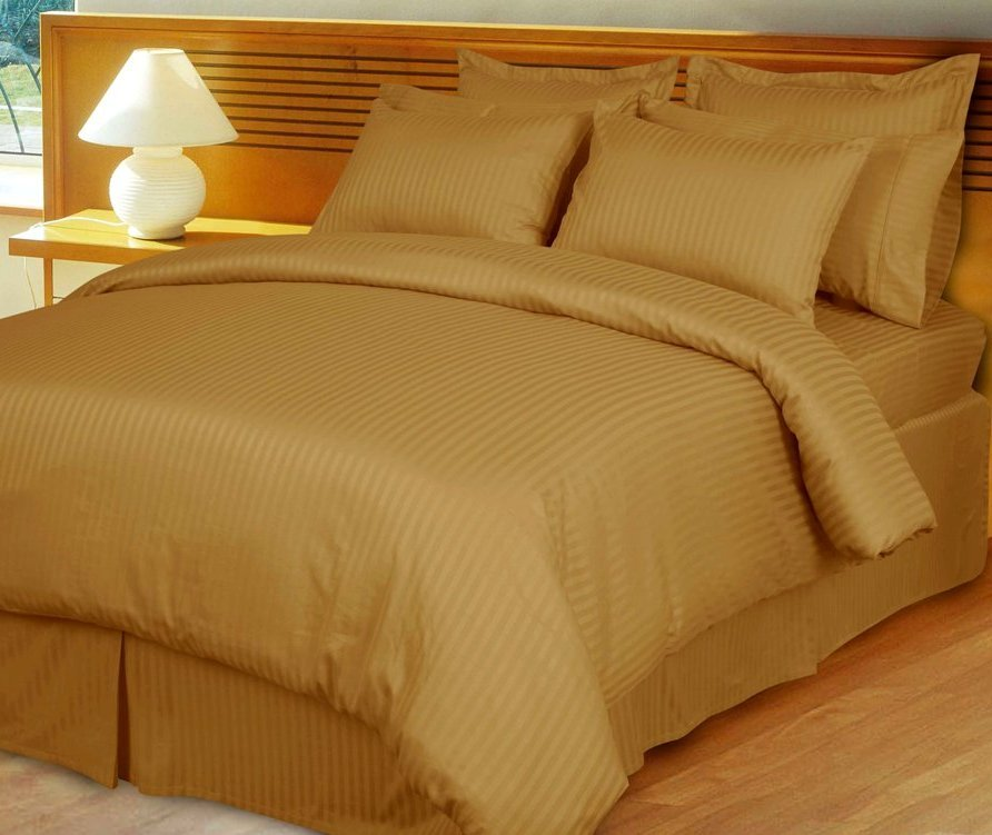 Bronze Damask Stripe Down Alternative 4-pc Comforter Set, 100% Egyptian cotton, 600 Thread count