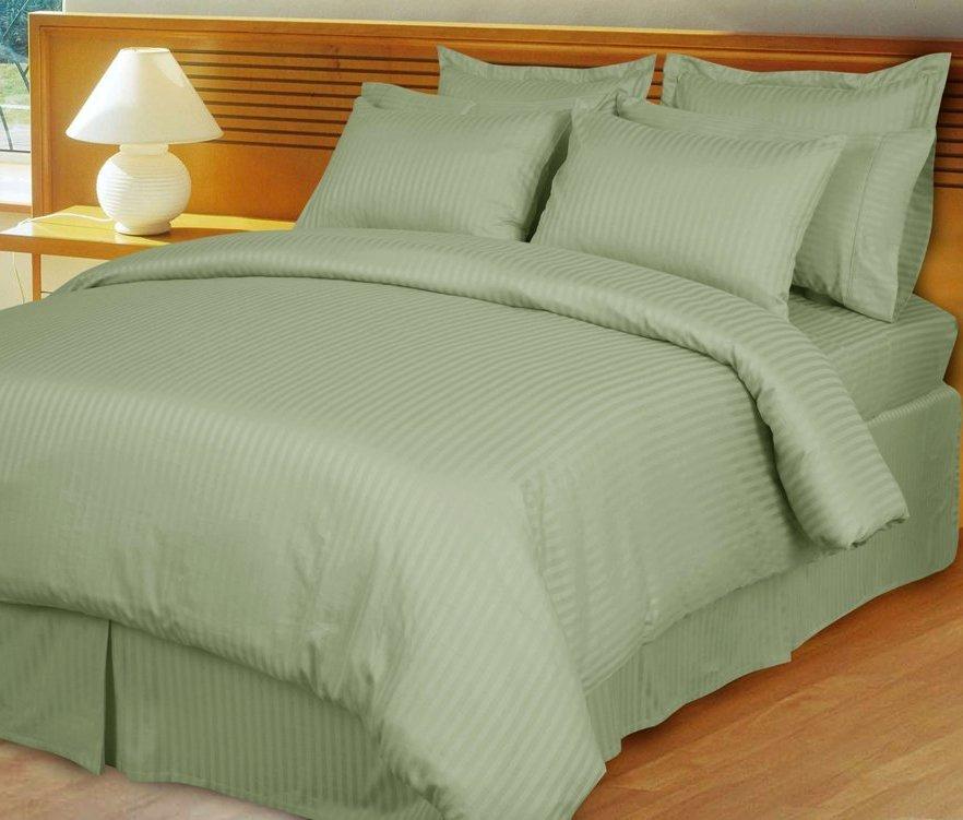 Sage/Mint Green Damask Stripe Down Alternative 4-PC comforter Set, Egyptian Cotton 600-TC