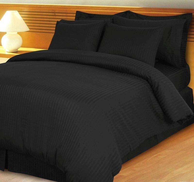 Black Damask Stripe Down Alternative 4-pc Comforter Set, Egyptian 600 count