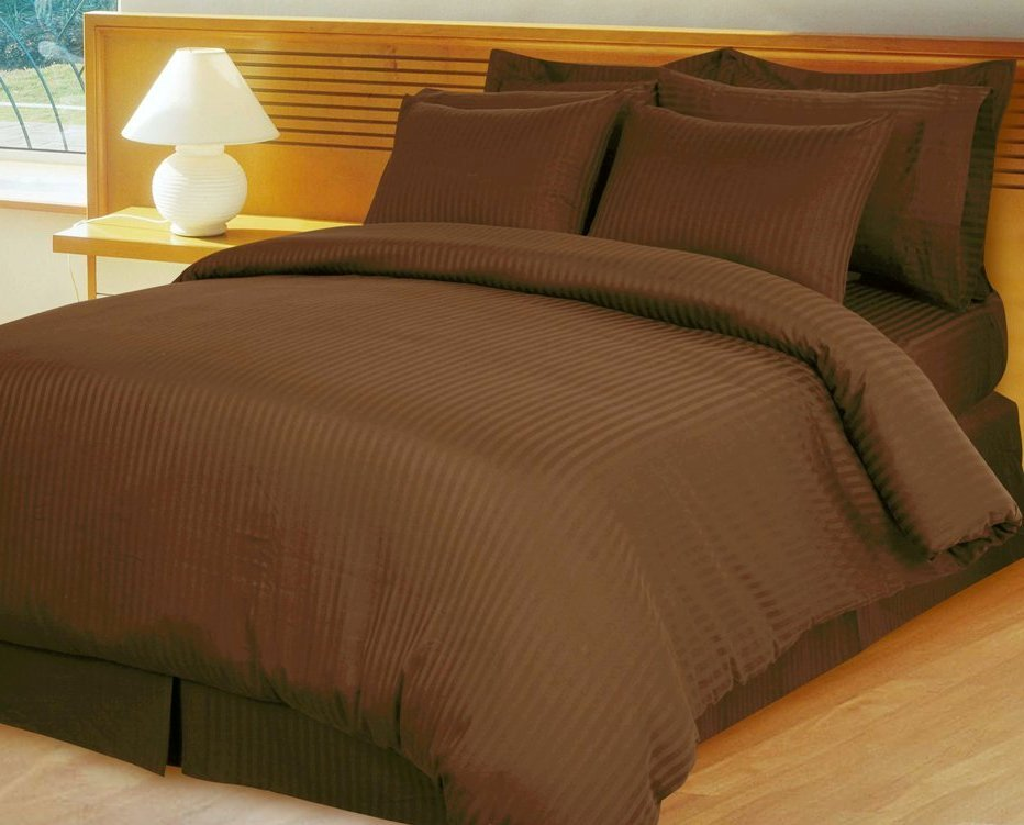 Chocolate Brown Damask Stripe Down Alternative 4-pc Comforter Set, Egyptian 600 count