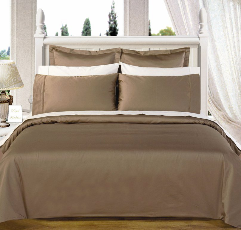 Taupe Solid Down Alternative 4-pc Comforter Set,100% Egyptian cotton, 550 Thread count