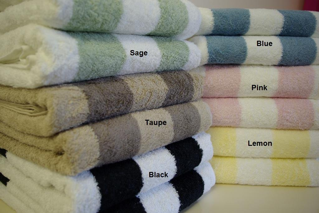 2-PC Striped Egyptian cotton Bath Sheets Sage/ Taupe/Black/ Blue/ Pink/ Lemon