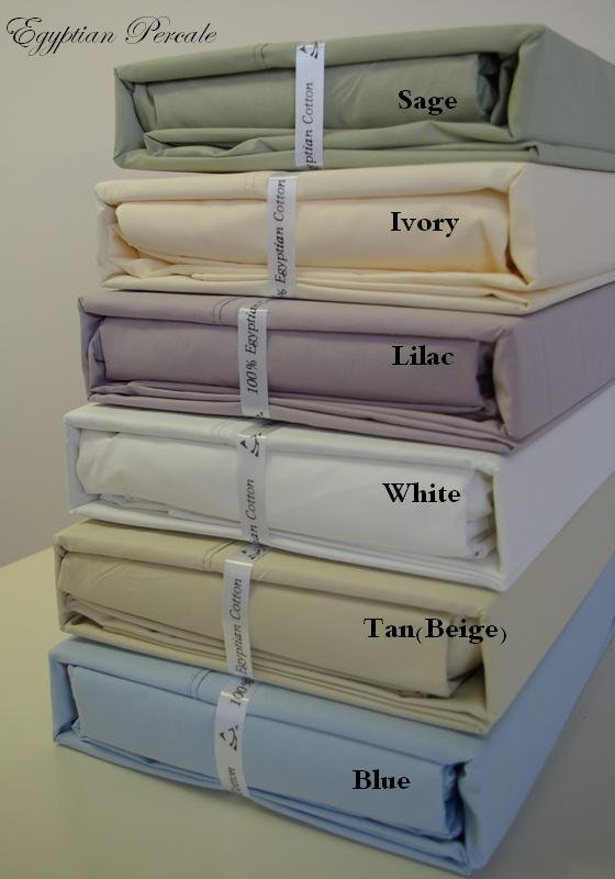 T300 CalKing/Waterbed Percale Solid White Sheet Sets (unattached)