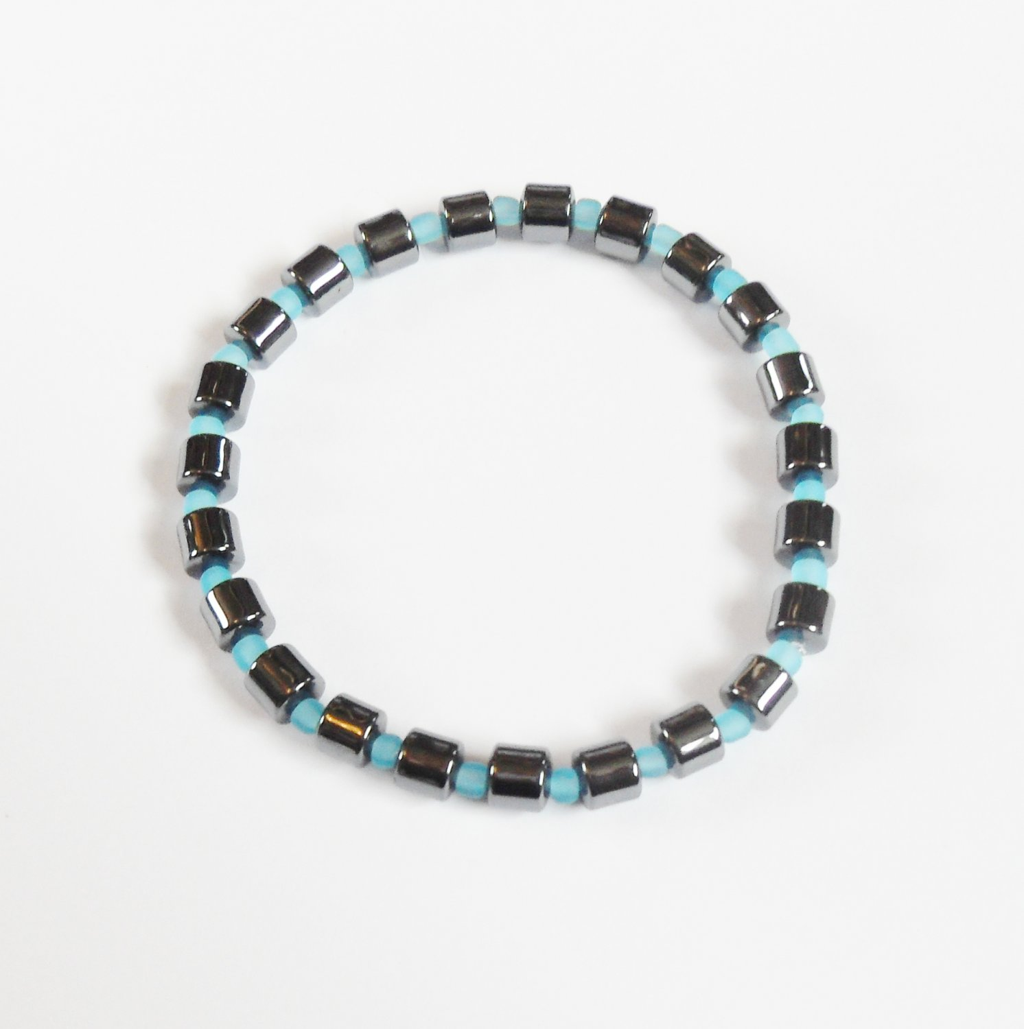Hematite and opaque blue surfer bracelet
