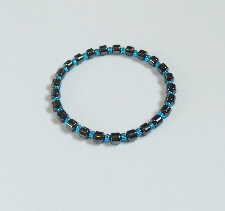 Hematite and clear blue surfer bracelet