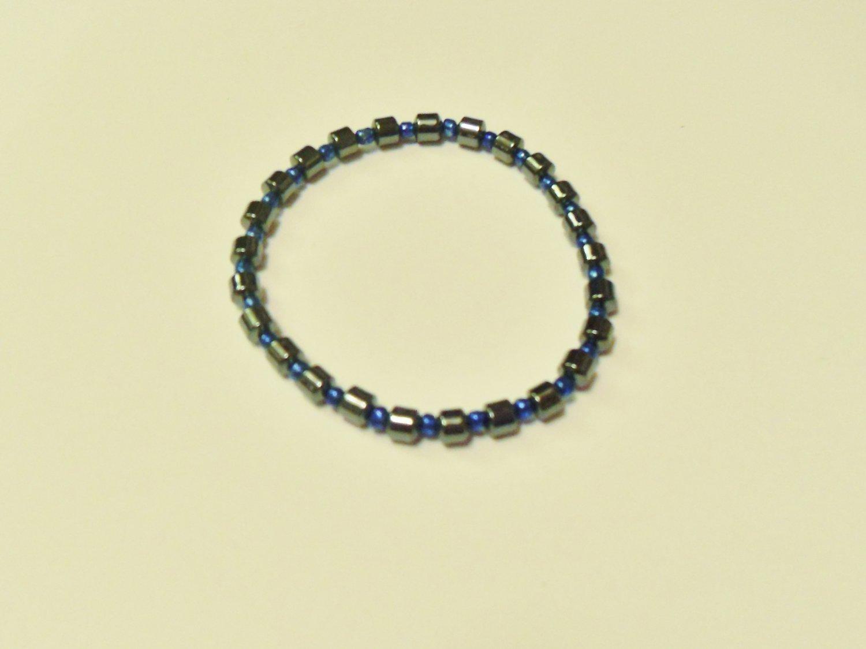 Hematite and metallic blue surfer bracelet