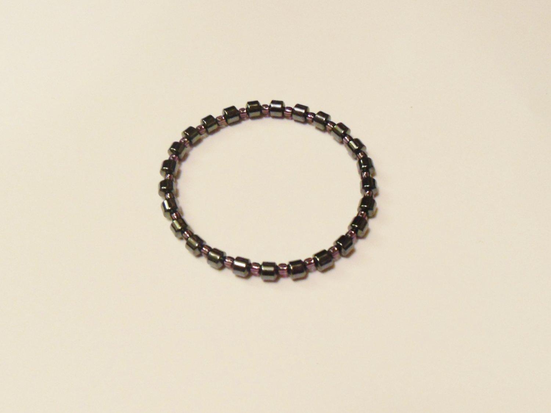 Hematite and clear purple surfer bracelet